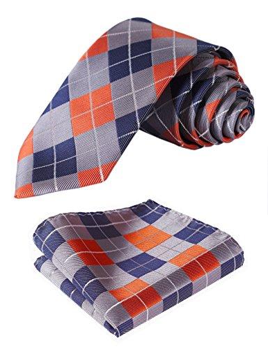 - HISDERN Men's Plaid Slim Skinny Narrow Tie Handkerchief Jacquard Woven Classic Men's Necktie & Pocket Square Set Orange