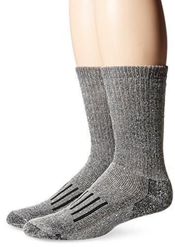 (PowerSox Men's BOOTSOCKS Medium Cushion Merino Wool Crew Socks, 2 Pairs, Black Marl, Shoe Size: 9-12.5)
