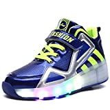 Uforme Kids Boys Girls High-top Shoes Led Light Up Sneakers Single Wheel Double Wheel Roller Skate Shoes (6.5 M Us=cn40, Blue-single Wheel) | amazon.com