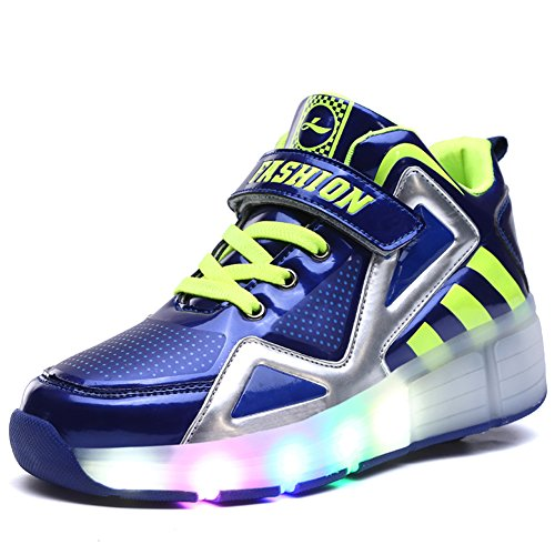Ufatansy Uforme Kids Boys Girls High-Top Shoes LED Light Up Sneakers Single Wheel Double Wheel Roller Skate Shoes(3 M US=CN34, Blue-Single Wheel) ()