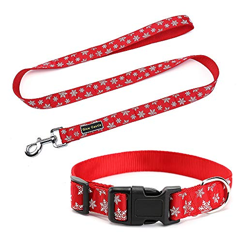 Petilleur Pet Leash and Collar Set Dog Collars and Leads Pattern with Christmas Style & New Year Festival (Pattern with Snowflakes) ()
