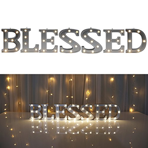 DELICORE Decorative Illuminated Marquee BLESSED Word Sign (Silver Color 4.21