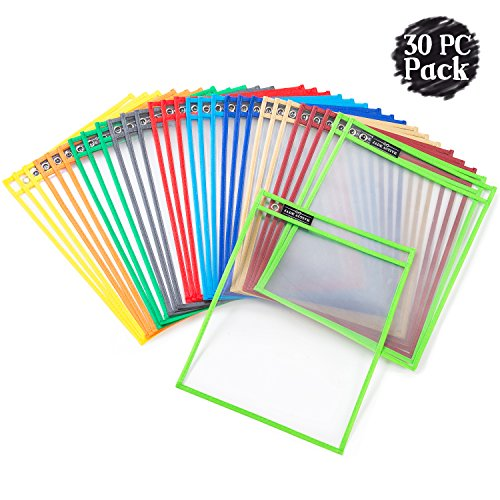 Dry Erase Pockets Sheet Protectors - Reusable + Oversized - Size 10 X 13 Inches - 30 Plastic Sleeves - Mixed Colors - Ideal to use at School or at Work -