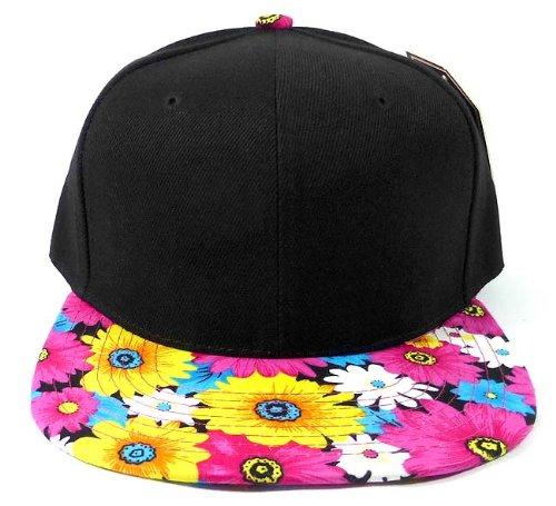 3250 Blank (Fashion Blank Floral Snapback Hat - Black | Pink Daisy Brim)