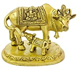 Exotic India ZBV23 Cow & Calf: Saddle Decorated with Lakshmi-Ganesha Figures