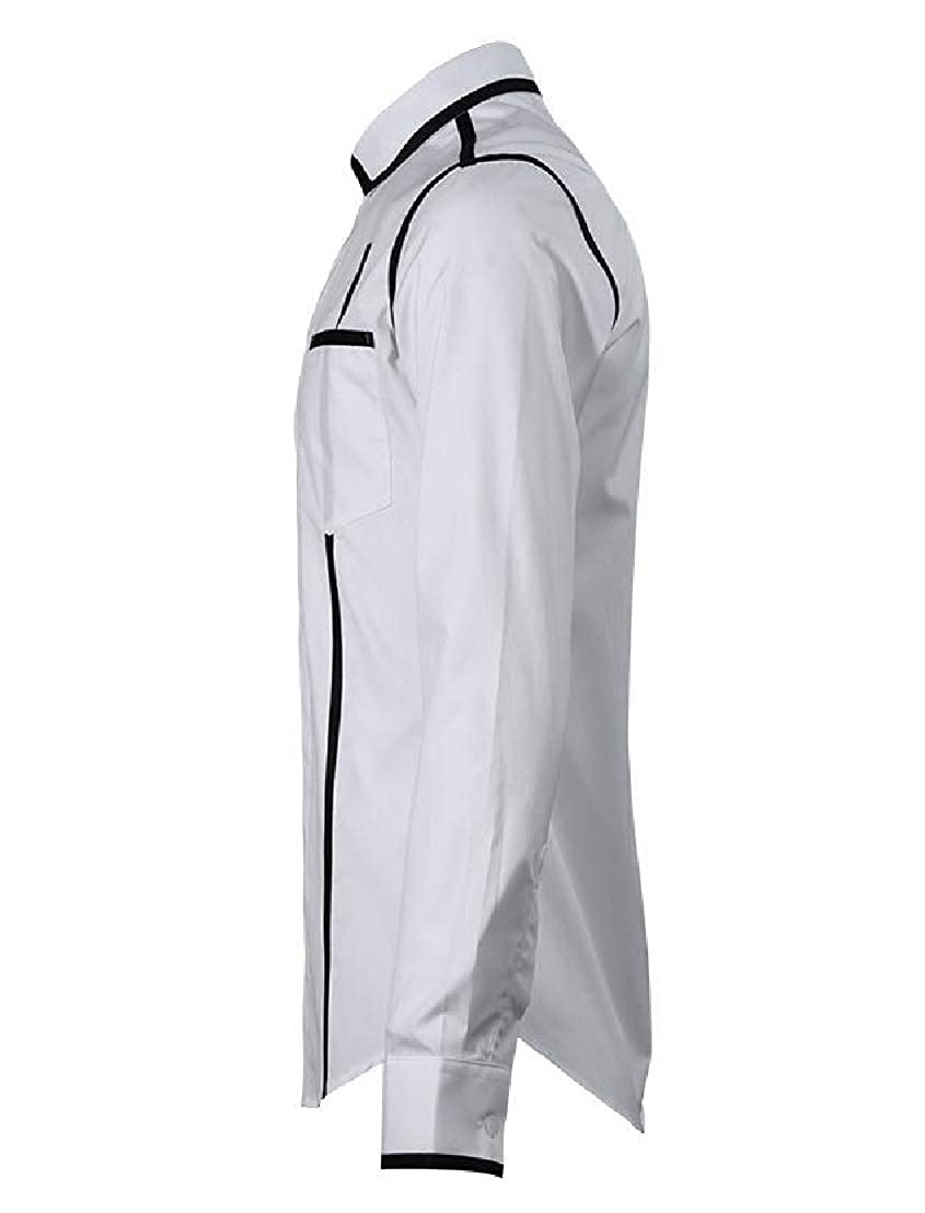 Wofupowga Men Splice Formal Top Long-Sleeve Button Down Striped Shirt