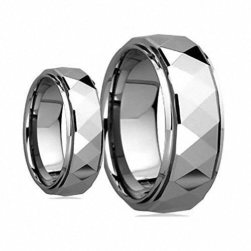 His & Her's 8MM/6MM Polished Facet Cut Shiny Tungsten Carbide Wedding Band Ring Set