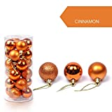 Clearance Tuscom 24Pcs/Pack 30mm Christmas Xmas Tree Ball, Glitter Baubles Balls for Home Party Ornament Decorations (12 Colors) (Orange)