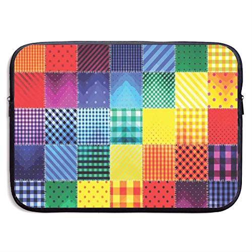 Rainbow Colored Square Geometric Laptop Sleeve Case Bags Sleeve Cover Bag Protection Tablet Case for 15 Inch Computer ()