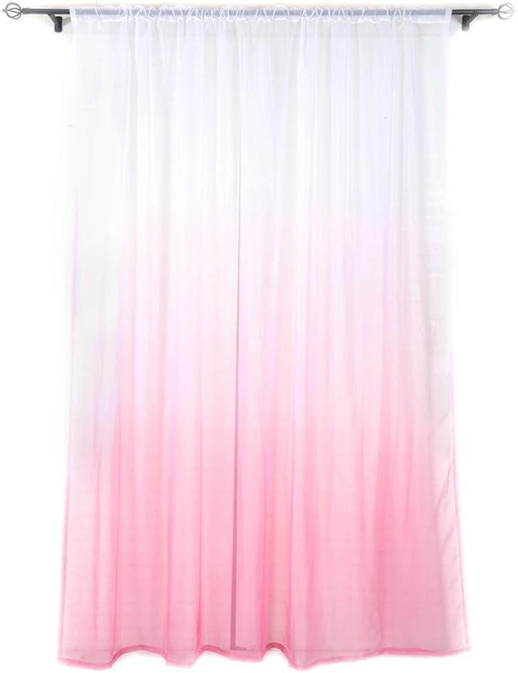A Angelof Rideaux Gradient Voilage Lavable Rideau Vitre Traitement Voile Drape Cantonni/èRe 1 Panneau Tissu 200 Cm X 100 Cm