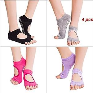 HEHEINC 4 Pairs Non Slip Half Toe Yoga Socks for Ballet, Yoga, Pilates, Barre Cotton Socks with Grips for Women (4 Pairs - Black, Gray, Red, Purple)