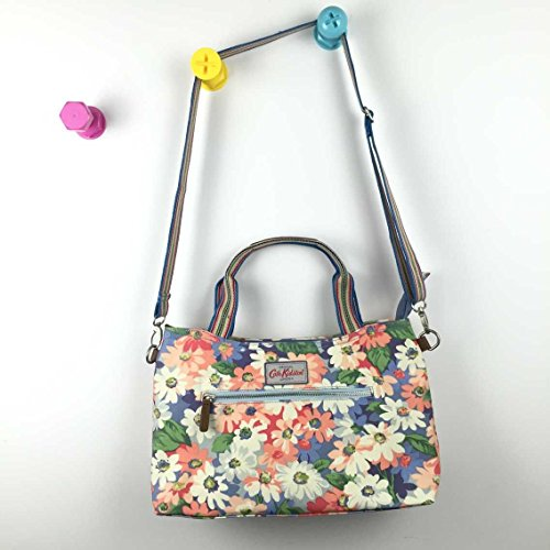 15SS Painted with Pastel Strap Matt Oilcloth Detachable Zipped Cath Handbag Kidston Daisy BwqUSAH1P