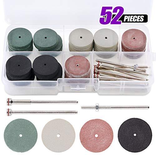 (Swpeet 52Pcs Polishing Wheels Kit, 40Pcs 4 Colors Mixed Lab Beauty Silicone Rubber Polishing Wheels + 12 Mandrel Shank Perfect for Rotary Hand Pieces Dremel Rotary Tool)