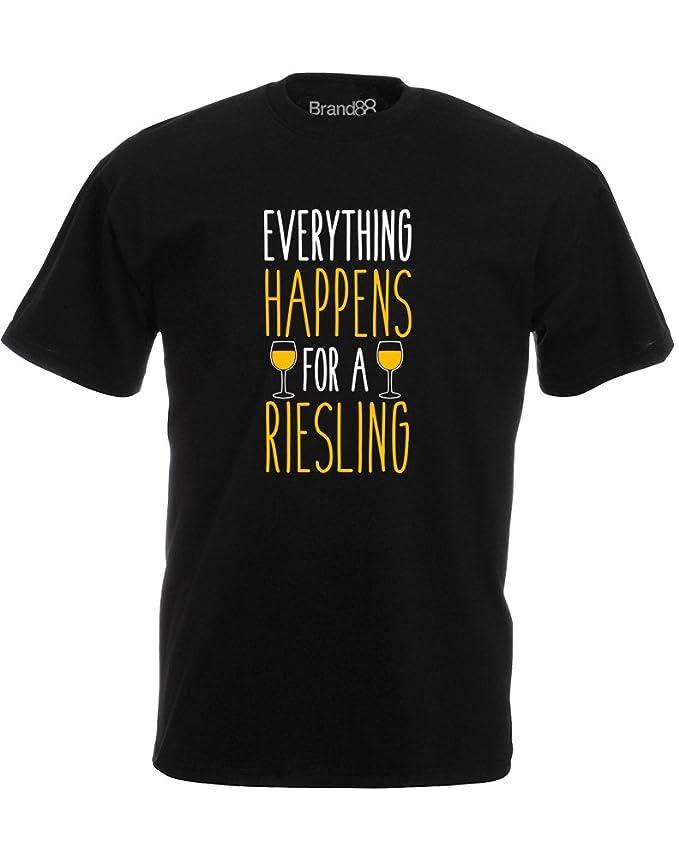 Brand88 - Everything Happens for a Riesling, Mann Gedruckt T-Shirt:  Amazon.de: Bekleidung