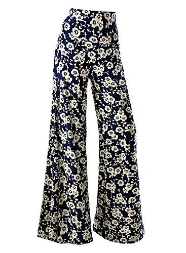 Arolina Women's Stretchy Wide Leg Palazzo Lounge Pants (Large, Floral 4)