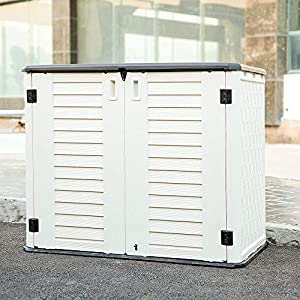 Kinying Horizontal Outdoor Storage Shed for Garden, Patios, Backyards, Multiple Opening Directions Convenient Storage…