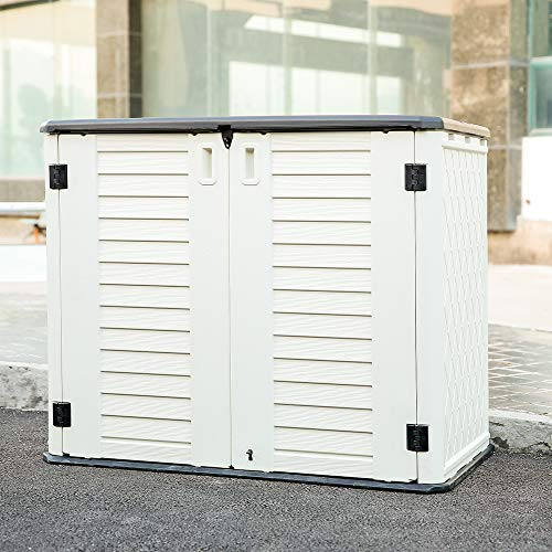 KINYING Horizontal Storage Shed Outdoor Multi-function Storage Cabinet for Backyards | Patios | Garden, Multiple Opening Directions Convenient Storage Garbage Cans | Tools | Lawn Mower | Bike