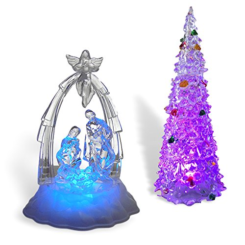- BANBERRY DESIGNS Christmas Light Up Decoration - Nativity Scene with a LED Lighted Acrylic Tree - Light-Up Holiday Decor Table Top Size