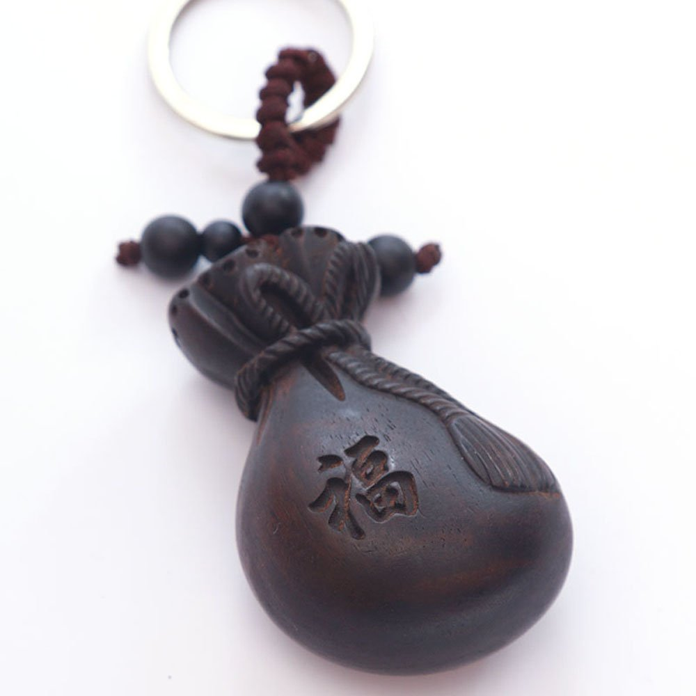 Duojimi Key Chain Big Purse Bag Black Wood Car Key Pendant