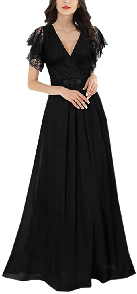 ZXjymll//~ Womens Deep V-Neck Lace Chiffon Wrap Waist Long Dresses Wedding Party Maxi Dress