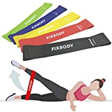 FIXBODY Exercise Loops Resistance Bands Set of 5 for Home Fitness, Stretching, Pilates, Yoga, Rehab, Physical Therapy with Carry Bag & Instruction Guide