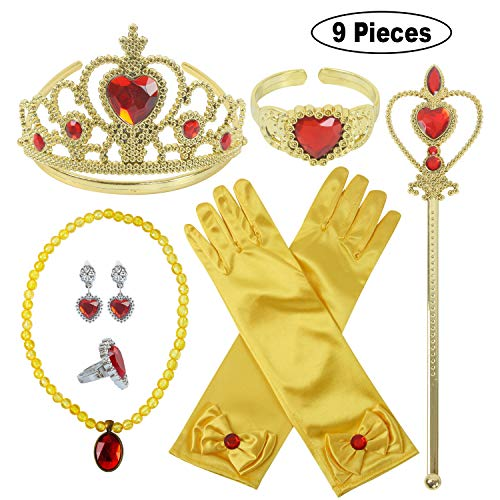 Princess Dress Up Party Accessories for Princess Costume Gloves Tiara Wand Necklace Earrings Bracelet and Ring (Yellow Gift Set of 7, 9pcs -