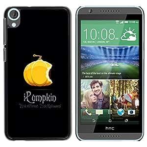 TopCaseStore / la caja del caucho duro de la cubierta de protección de la piel - Pumpkin Orange Halloween Autumn Fall Black - HTC Desire 820