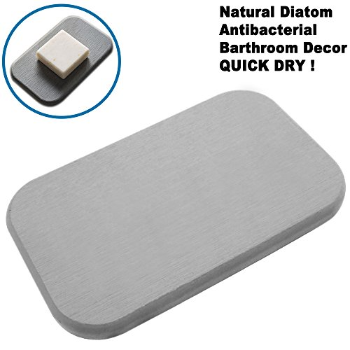 Absorbent Bar Soap Holder Soap Dish for Handmade Face Beauty Bar cum Refrigerator Odor Absorber – Natural Diatom Earth Keeps Soap Quick Dry (1 Gray)