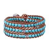 KELITCH Green Jade Beads on Original Leather Charm 3 Wrap Bracelet Handmade New Top Jewelry6