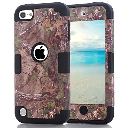 iPod touch 6th Generation Camouflage Case, Hocase Heavy Duty Shockproof Hybrid Silicone Rubber Bumper+Hard Shell Protective Case for iPod touch 5th/6th Generation - Camo / (Hybrid Shell Ipod)