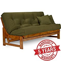 •   Frame only (mattress, cover and pillows not included) •   Solid hardwood constructed futon frame •   Three position - sofa, lounger, and bed •   Sofa height seating •   Full size futon frame accommodates full futon mattress and easily con...