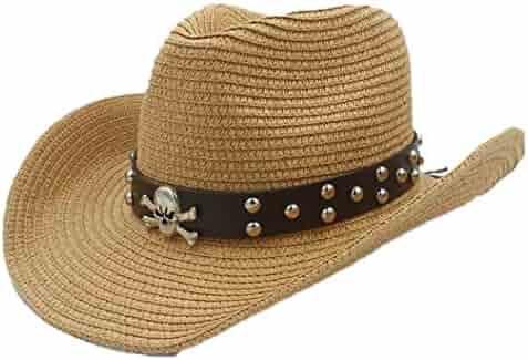 ddfc976a Unisex Wide Brim Straw Cowboy Hat Summer Outback Beach Sun Cap with Leather  Belt