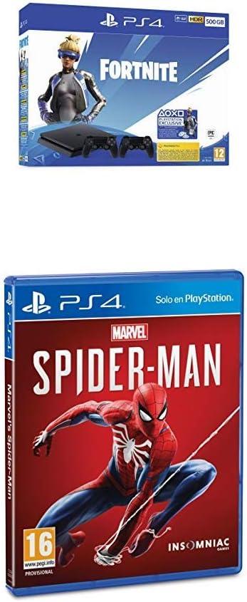 Playstation 4 (PS4) - Consola 500 Gb + 2 Mandos Dual Shock 4 + Contenido Fortnite + Marvels Spiderman: Amazon.es: Videojuegos