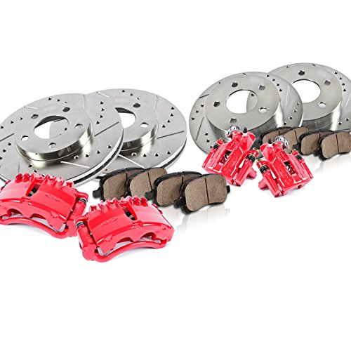 FRONT + REAR Powder Coated Red [4] Calipers + [4] Drilled/Slotted Rotors + Quiet Low Dust [8] Ceramic Pads [ SN95 ]