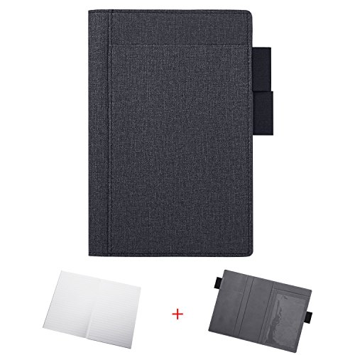 Multifunctional Combination Notebook, Business Office Hand Book, PU Leather Storage Notepad Planner, Travel Writing Journal Diary Take Note Book Stationery Supplies with Pockets Pen Holder (Black)
