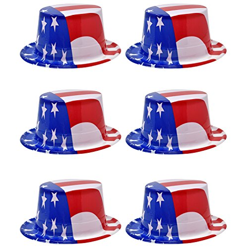 Top Accessory Hat (Patriotic Hats Uncle Sam Top Hat 6 Pack USA American Flag Costume Headwear Stars and Stripes Printed Design 4th of July Party Favor Supplies Decoration Accessories for Independence Day Dress Up)