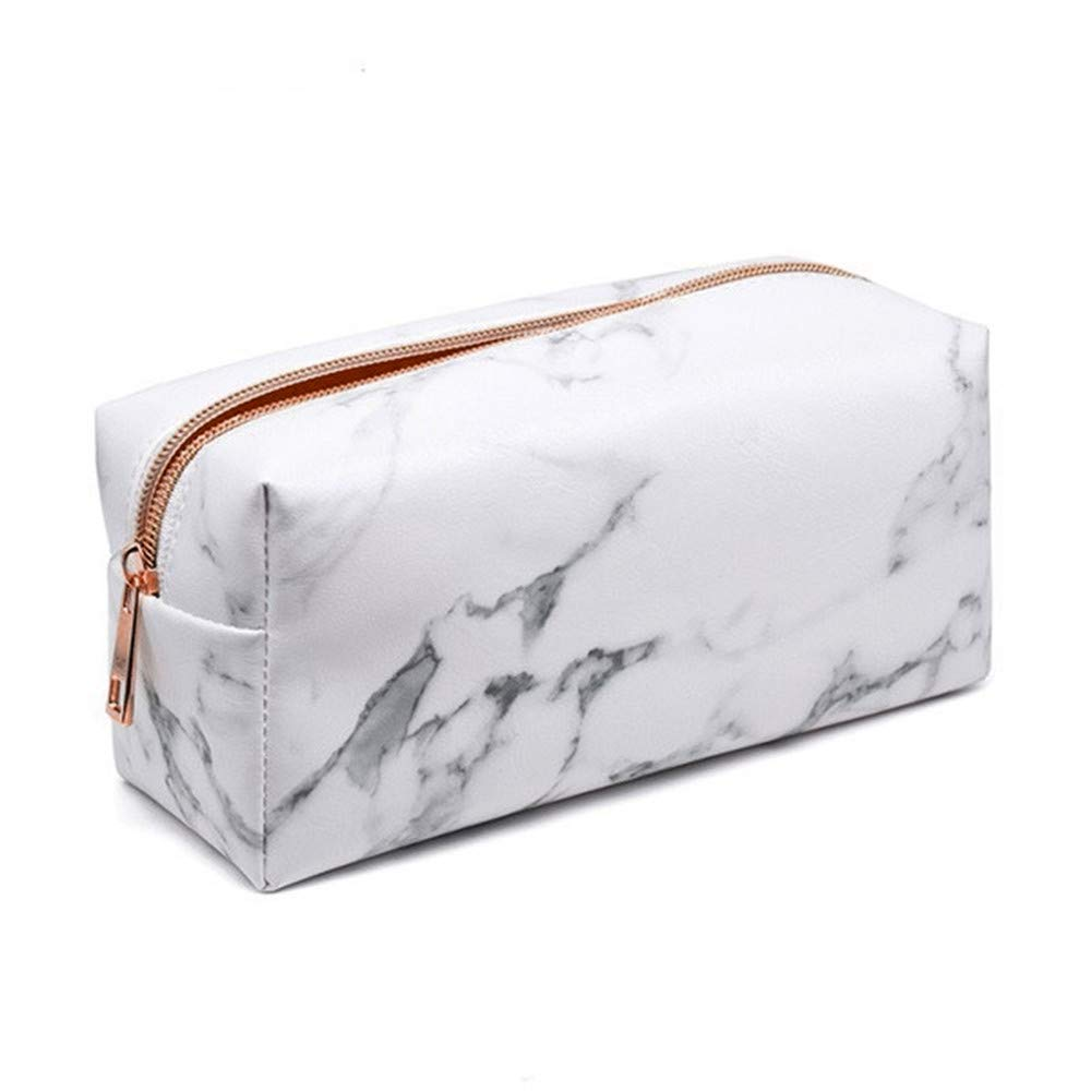 HP95 Multifunction Marble Pencil Pen Pouch Case Stationery Bag Zipped Marble Makeup Pouch Box Travel Cosmetic Brush Bag (A)