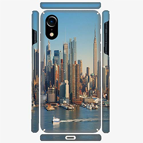 Phone Case Compatible with 3D Printed iPhone X/XS DIY Fashion Picture,Hudson River Empire State Building Boats,Personalized Designed Hard Plastic Cell Phone Back Cover Shell Protective