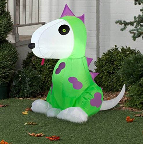 Airblown Inflatable Halloween Dog In Dinosaur Costume Yard Decor 3.5' Tall by Gemmy]()