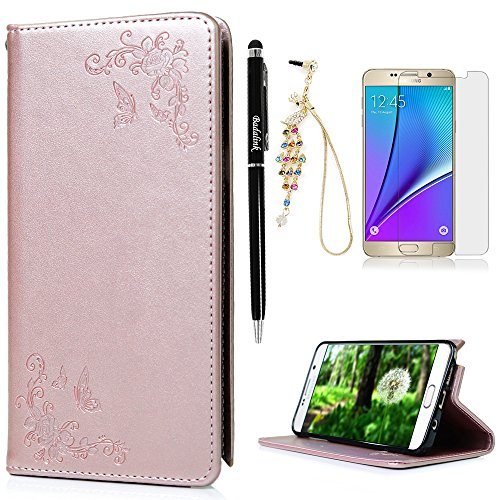 Lucky Embossed Belt (Note 5 Case,Samsung Galaxy Note 5 Case - Wallet Slim Folio Stand Smart Closure Vintage Embossed Flowers PU Leather Flip Case with Shock-Absorption TPU Inner Cover Card Slots by Badalink)
