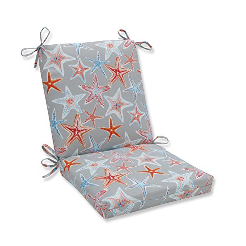 (Pillow Perfect Outdoor | Indoor Stars Collide Pewter Squared Corners Chair Cushion)