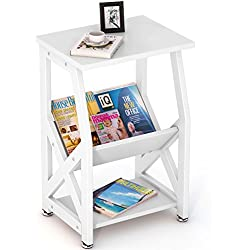 Tribesigns Modern Chairside End Table Nightstand with Storage Shelves for Bedroom, Living Room, Entryway, Sturdy Metal Frame (White.)