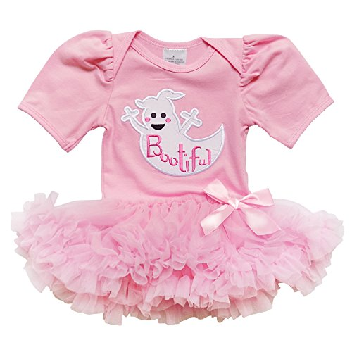 [So Sydney Baby Girl Halloween Black Cat, Ghost Tutu Skirt Onesie Romper Costume (M (6-12 Months), Bootiful Pink] (Ghost Baby Halloween Costume)