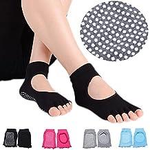 Yoga socks Non-Slip Cotton Pilates/Barre/Exercise/Yoga Toeless Socks With Grips Five toes socks for women