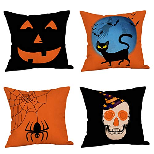 Steven.Smith 4 Pack Black Cats Happy Halloween Pillow Covers Cotton Linen Pumpkin Skull Spider Decorative Throw Pillow Case 18x18 Inch Sofa Home Decor -