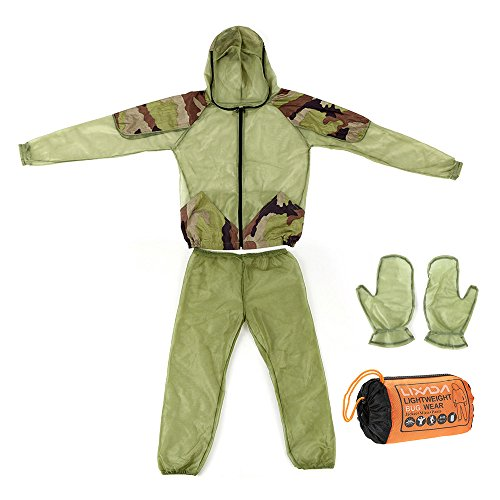 Lixada Mosquito Suit,Repellent Bug Jacket Mesh Hooded Suits Ultra-fine Mesh Insect Protective Shirt Gloves Pants