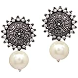V L IMPEX Sun Shape With Black Color Beads Silver Plated Oxidized Stud Drop earring