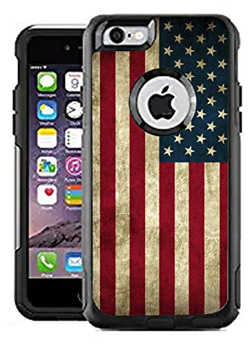 Teleskins Protective Designer Vinyl Skin Decals/Stickers for Otterbox Commuter iPhone 6 / 6S Case -Grunge USA American Flag Design Patterns - Only Skins and Not Case (Iphone 6 Skins American Flag)