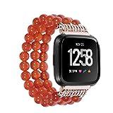YJYdada Luxury Crystal Three Beads Round Beads Watch Band Wrist Strap for Fitbit Versa (red)