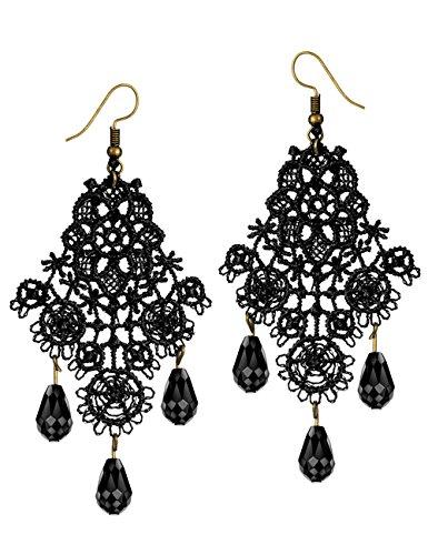 Mints Chandelier Earrings Gothic Jewelry for Women Tassel Black Lace Motif Cut Out Drop Dangle Earrings (Dangle Lace)